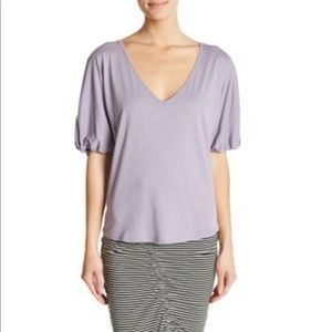 NWT Nordstrom Pleated Sleeve V-Neck Knit Purple